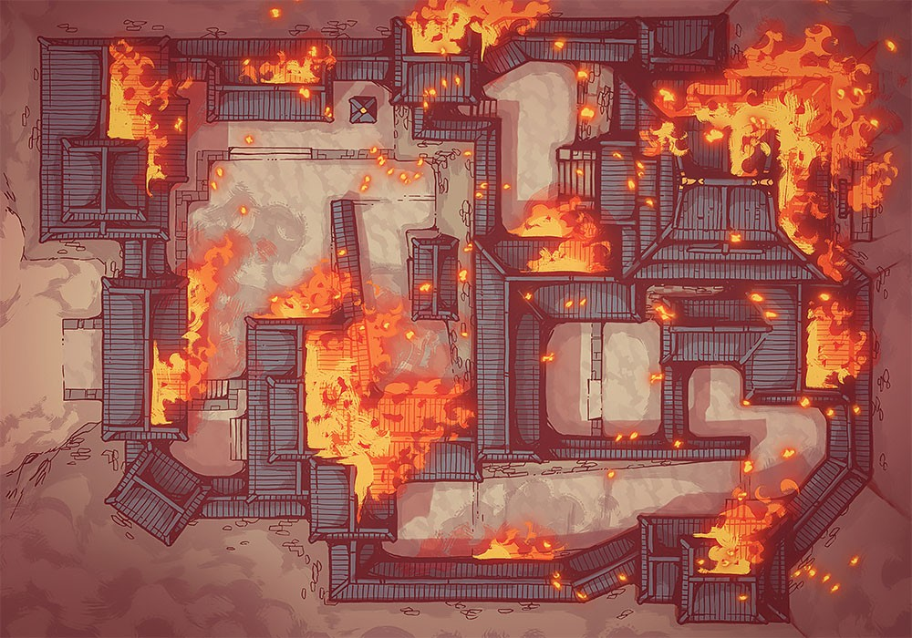 Japanese Castle, Day, Ablaze (32x44)