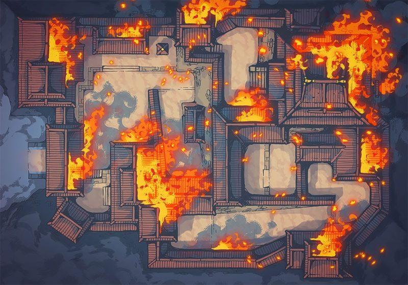 Japanese Castle, Night, Ablaze (32x44)