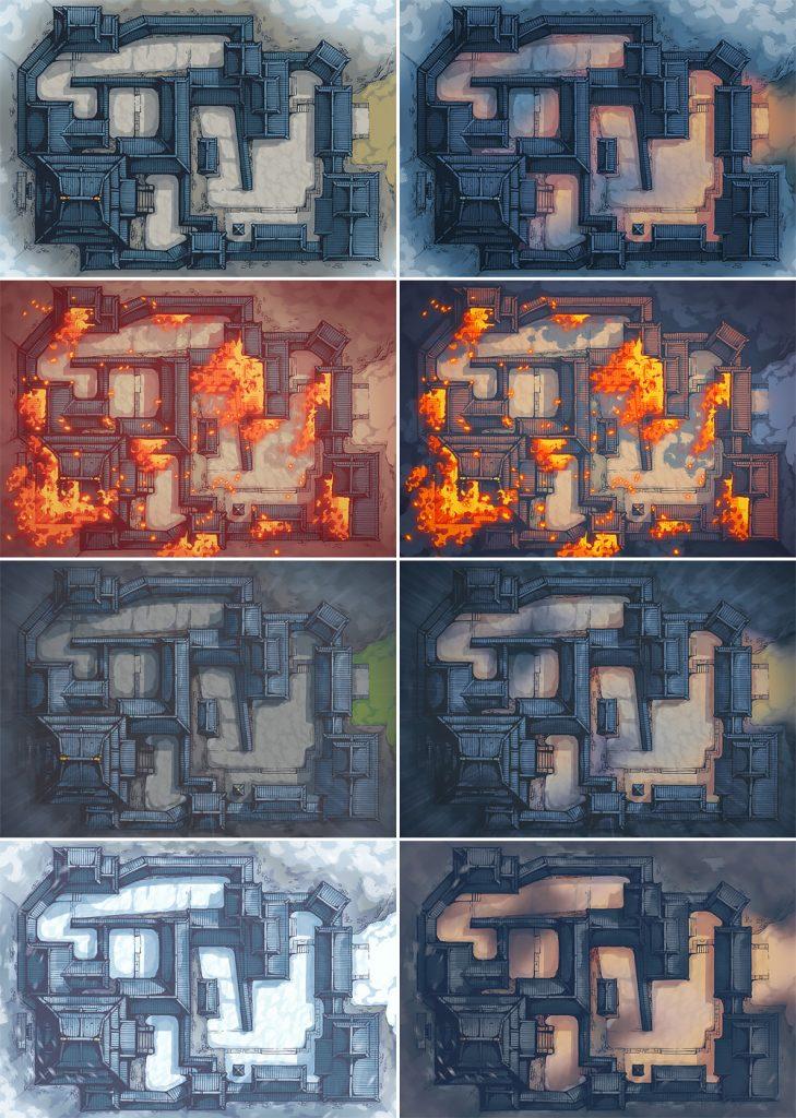 Japanese Castle RPG Battle Map – Patreon Variants