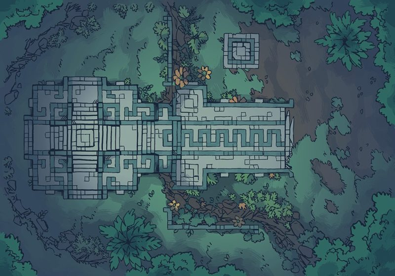 Jungle Podium battle map, deep-night