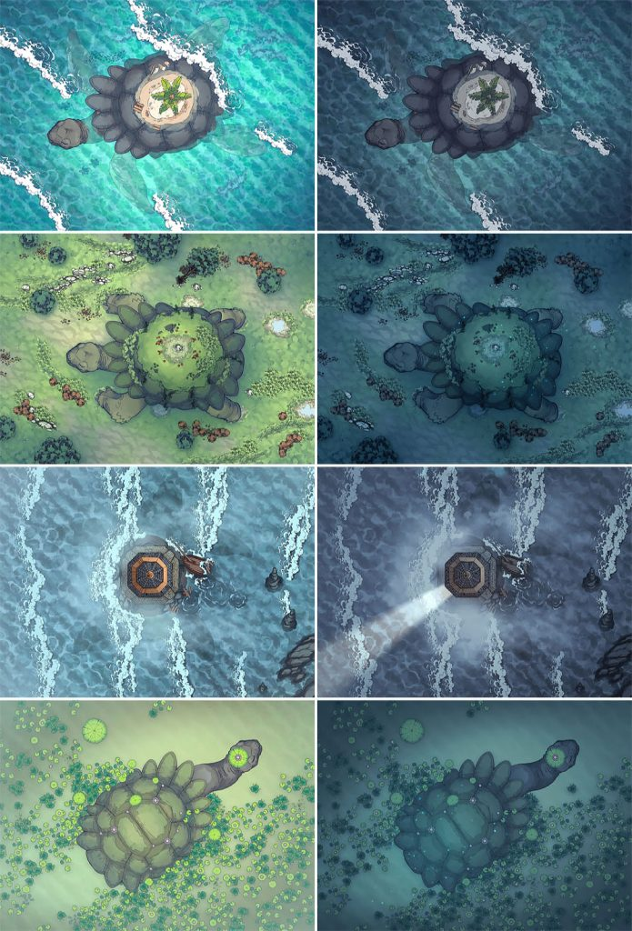 Colossal Turtle RPG Battle Map & Assets - Patreon Variants