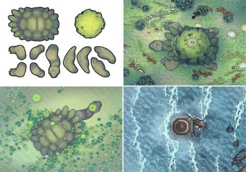 Colossal Turtle RPG Battle Map & Assets - Variants