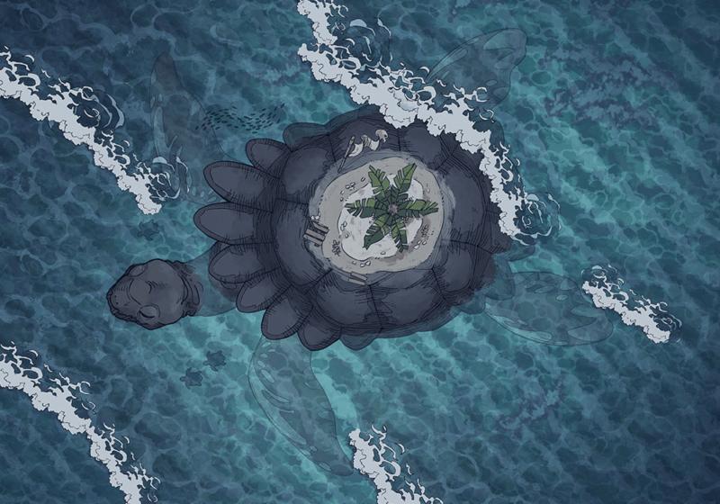 Colossal Turtle, Sea Turtle, Night (44x32)
