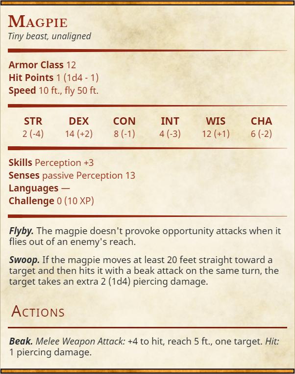 Magpie Stat Block - Australian Familiar Creature