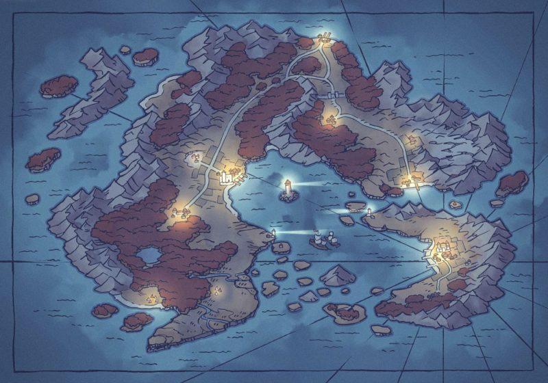 Arvyre Continent Map (23x16) Autumn, Night