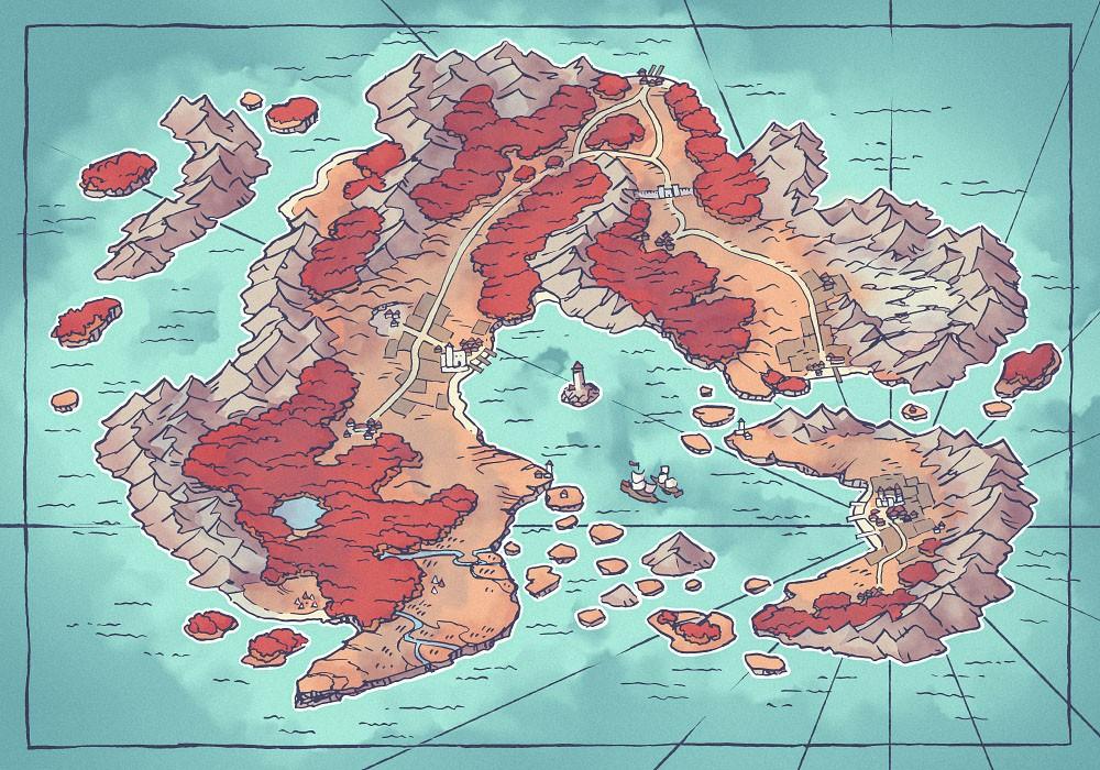 Arvyre Continent Map (23x16) Autumn