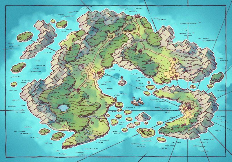 Arvyre Continent Map (23x16) Summer