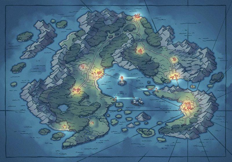 Arvyre Continent Map (23x16) Summer, Night