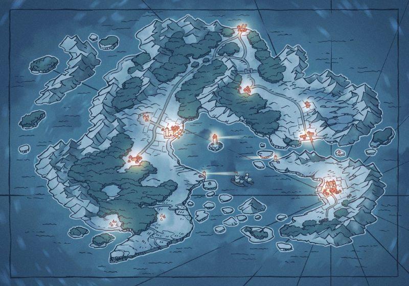 Arvyre Continent Map (23x16) Winter, Night