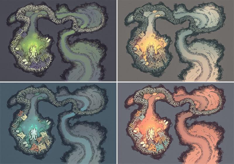 Snake Den RPG Battle Map - Pack Variants