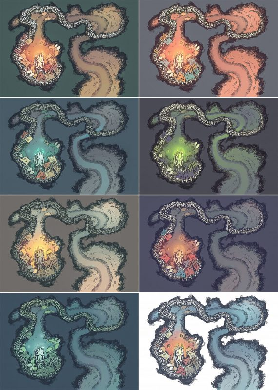 Snake Den RPG Battle Map - Patreon Variants