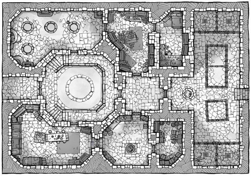 Cultist Lair (16x22) Base Map, B&W