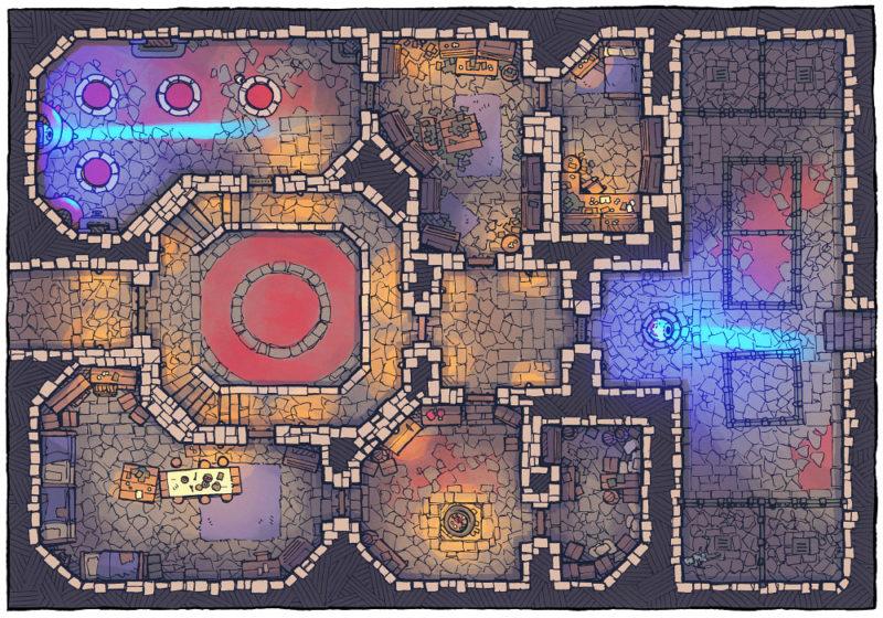 Cultist Lair (16x22) Base Map, Light