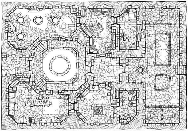 Cultist Lair (16x22) Base Map, Line Art
