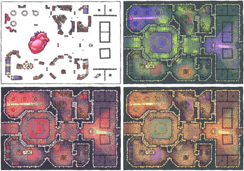 Cultist Lair Fantasy Dungeon Map - Variants