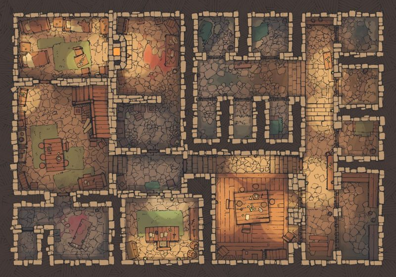 Dungeon Jail (22x16) Base Map, Dark