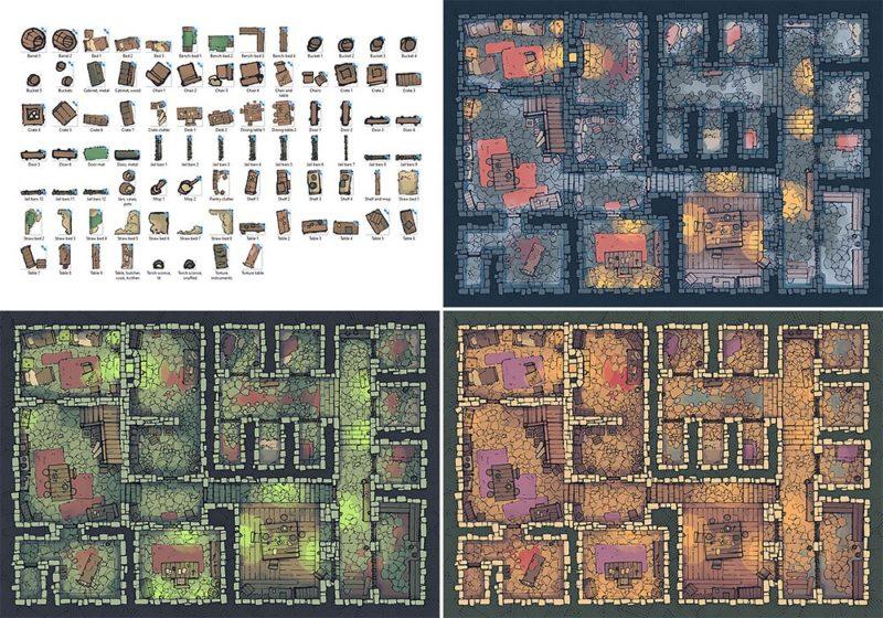 Dungeon Jail Prison Battle Map - Basic Variants
