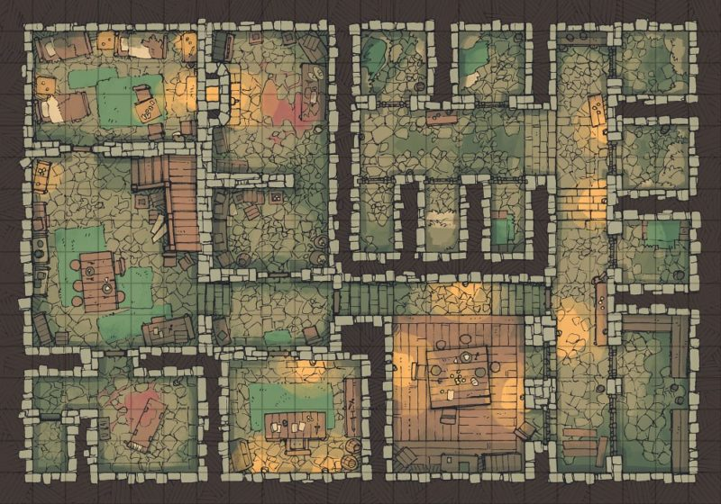 Dungeon Jail Prison Battle Map - Grid Preview