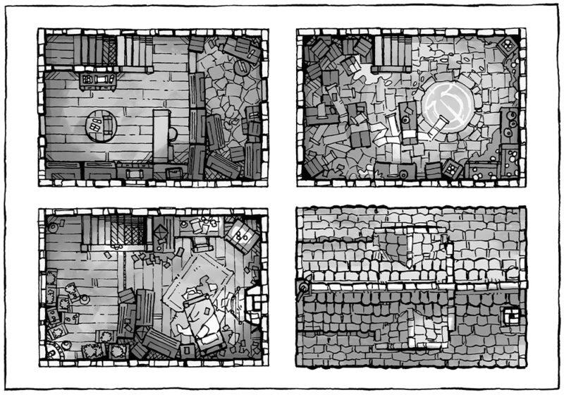 Spell Scroll Store Battle Map - Black & White