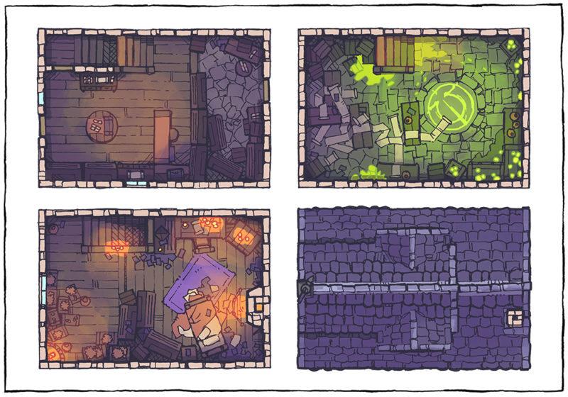 Spell Scroll Store Battle Map - Halloween, Night