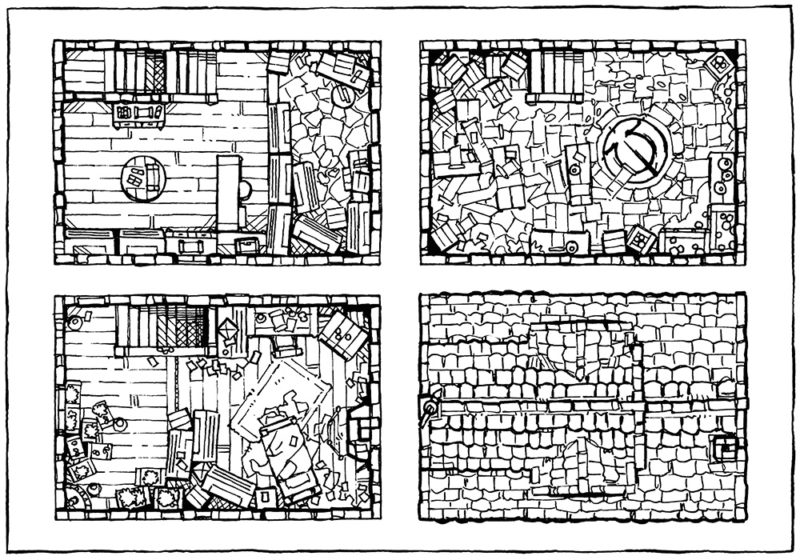 Spell Scroll Store Battle Map - Line Art