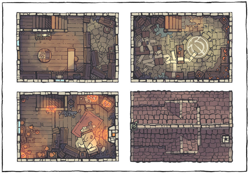 Spell Scroll Store Battle Map - Low Fantasy, Day