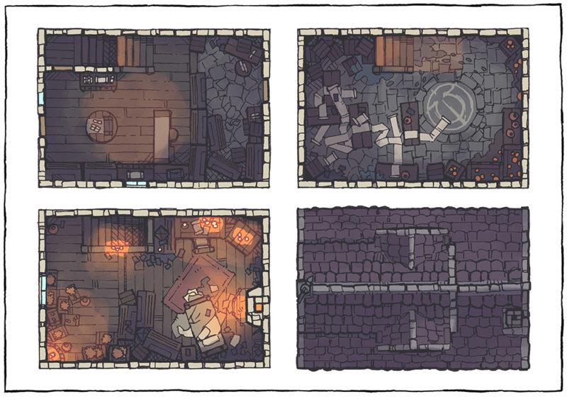 Spell Scroll Store Battle Map - Low Fantasy, Night