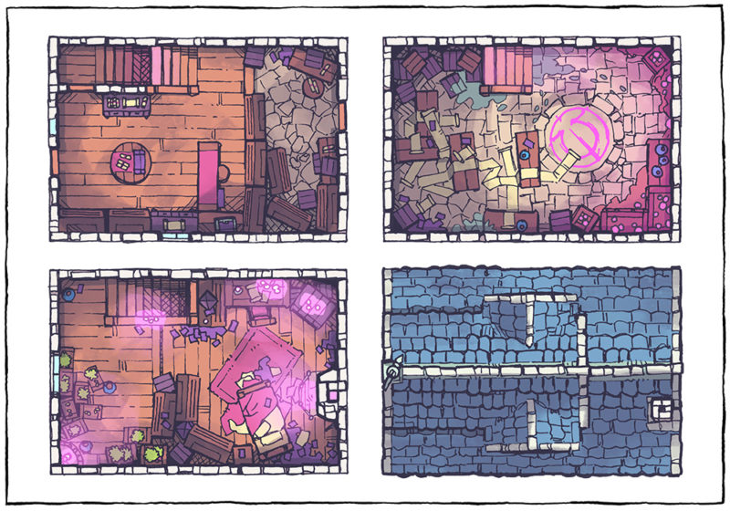 Spell Scroll Store Battle Map - Pink, Day
