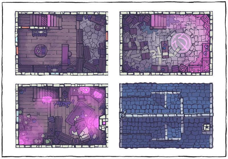 Spell Scroll Store Battle Map - Pink, Night