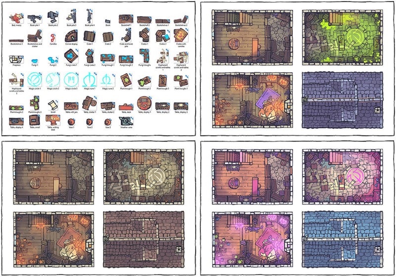 Spell Scroll Store Battle Map - Variants