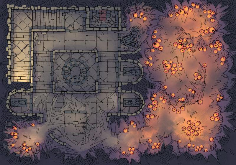 Infested Crypt - 23x16 - Orange - Dark