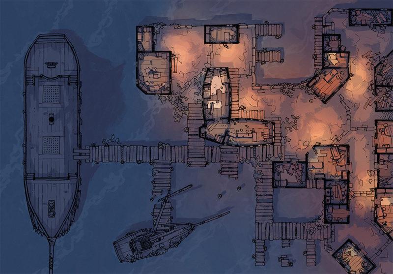 Docks of the Dead - 32x46 - Everyday - Night