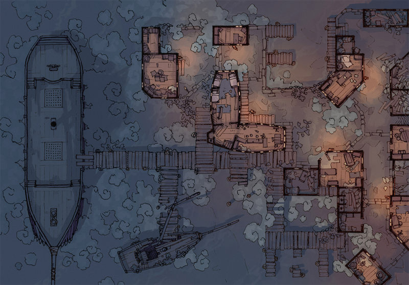 Docks of the Dead - 32x46 - Misty - Night