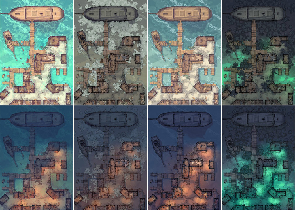 Docks of the Dead battle map - Patreon variants