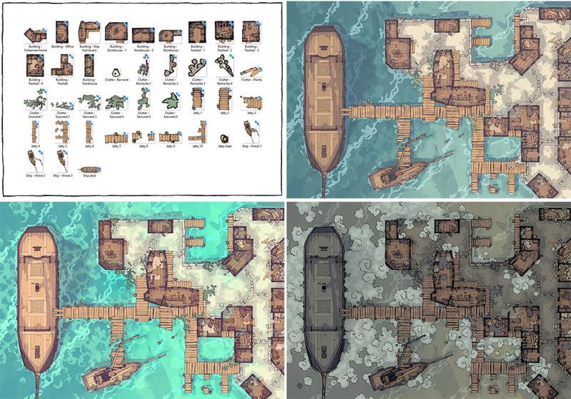 Docks of the Dead battle map - Variants