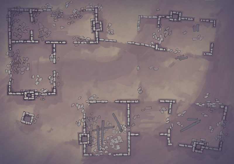Meadow Ruins - Desert - Night- 22x16