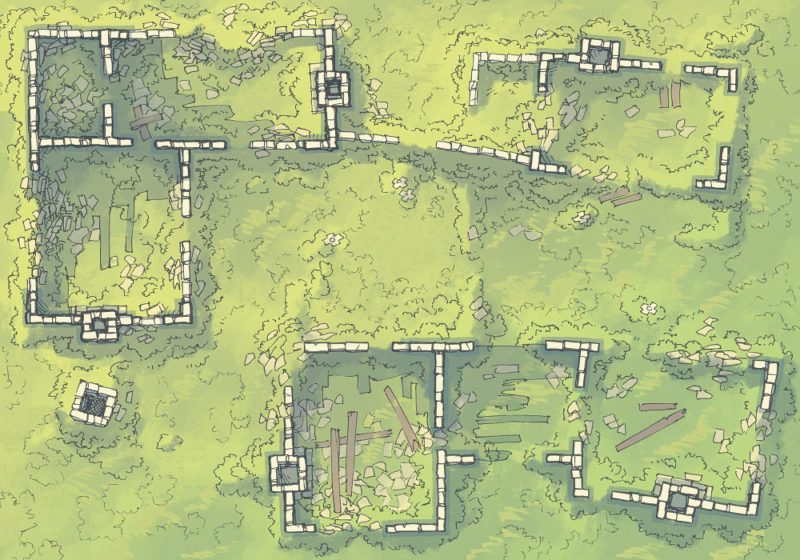 Meadow Ruins - Grassy - Day - 22x16