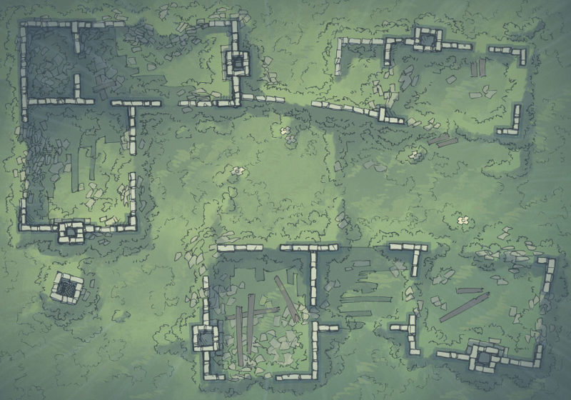 Meadow Ruins - Rainy - Day - 22x16