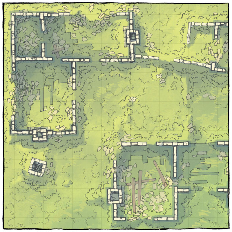Meadow Ruins battle map - Square preview