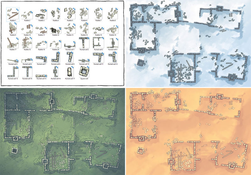 Meadow Ruins battle map - Variants preview