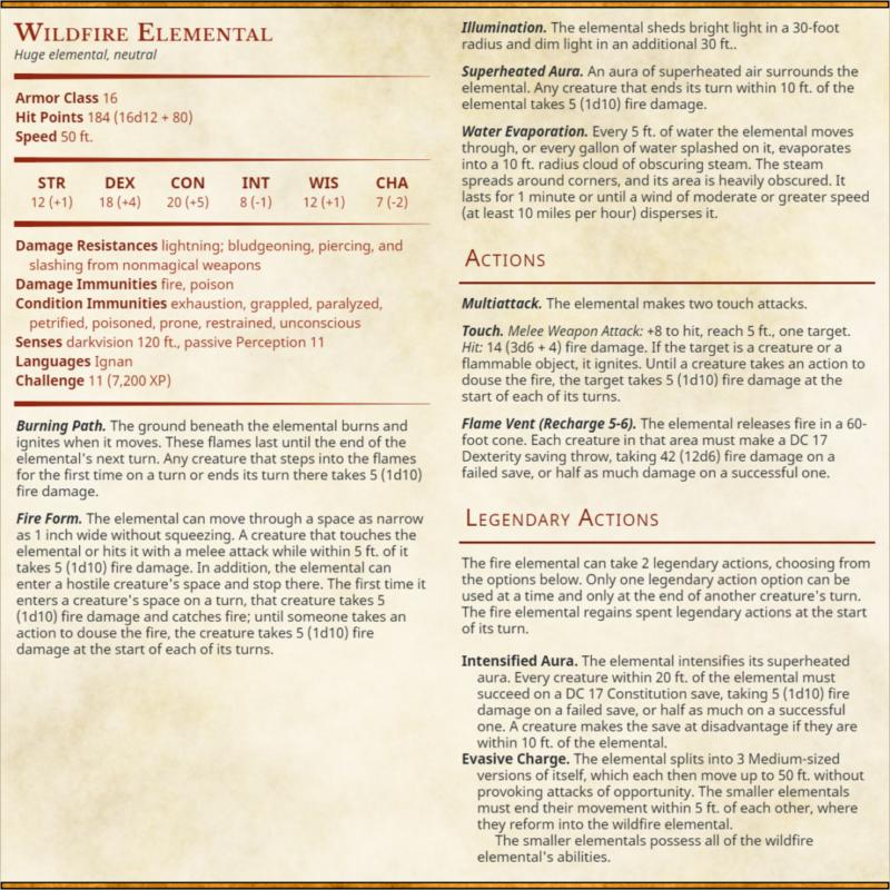 Wildfire Elemental Stat Block