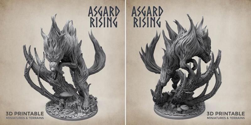 Bonus Spirit Wolf STL 3D Print File - Preview