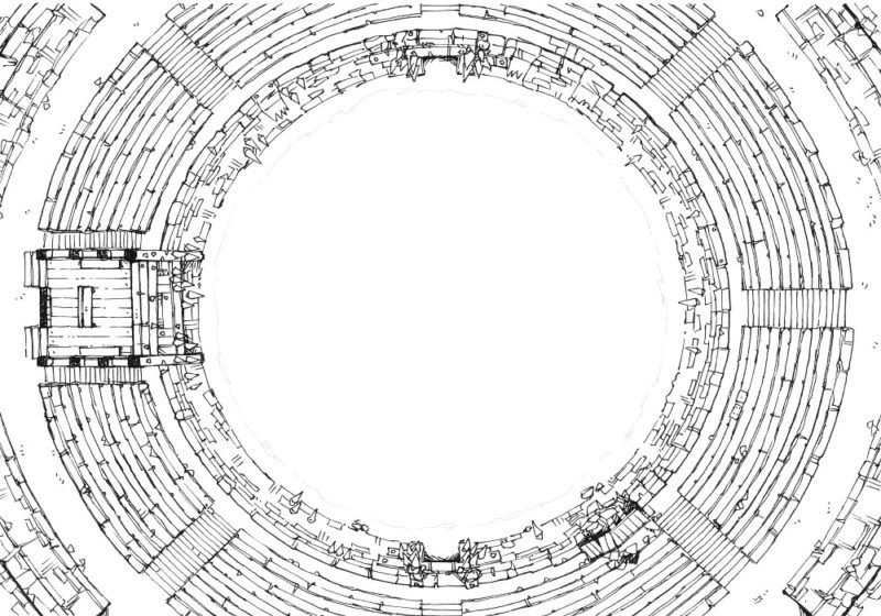 Greybanner Coliseum - Line art - 22x16