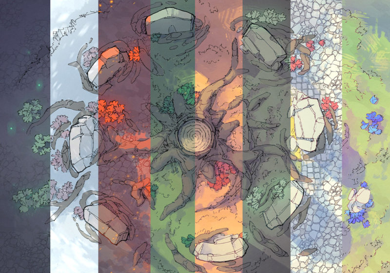 Woodland Nexus battle map - Variants - Single