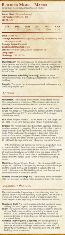 Building Mimic Manor 5e Stat Block