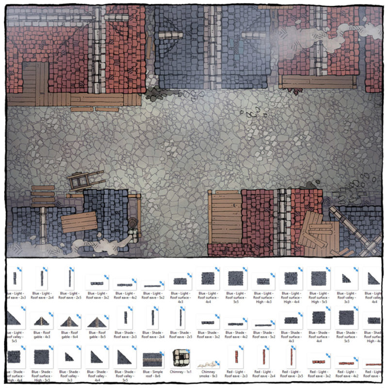 Modular Rooftops RPG map assets - Square Preview