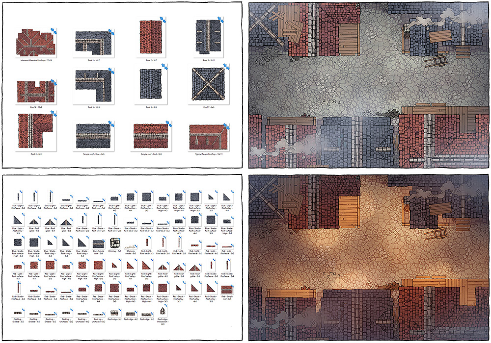 Modular Rooftops RPG map assets and battle maps