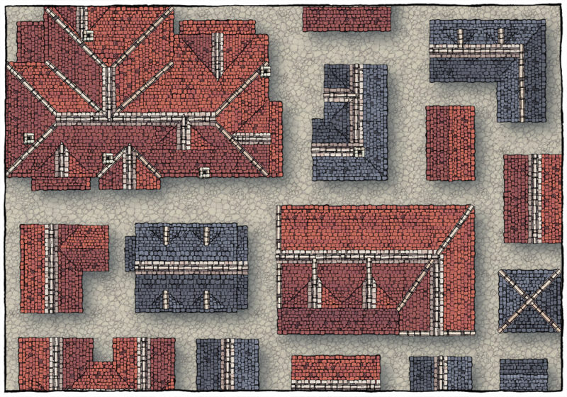 Modular Rooftops RPG map assets - pre-made roofs 2