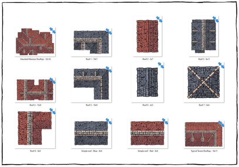 Modular Rooftops RPG map assets - pre-made roofs