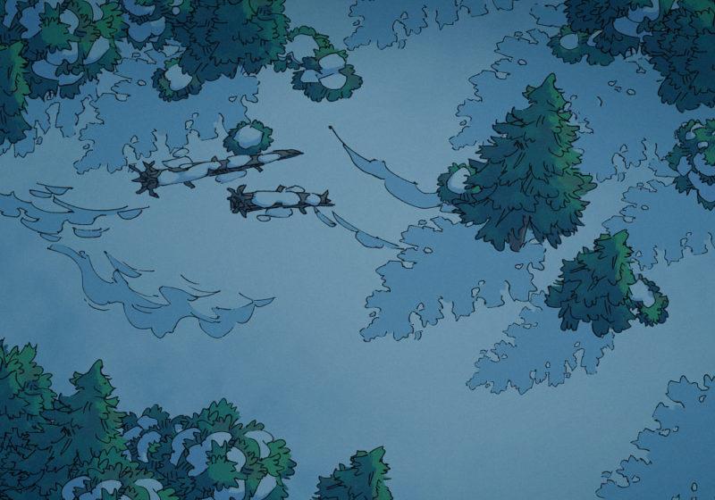 Snowy Forest - Night - 22x16